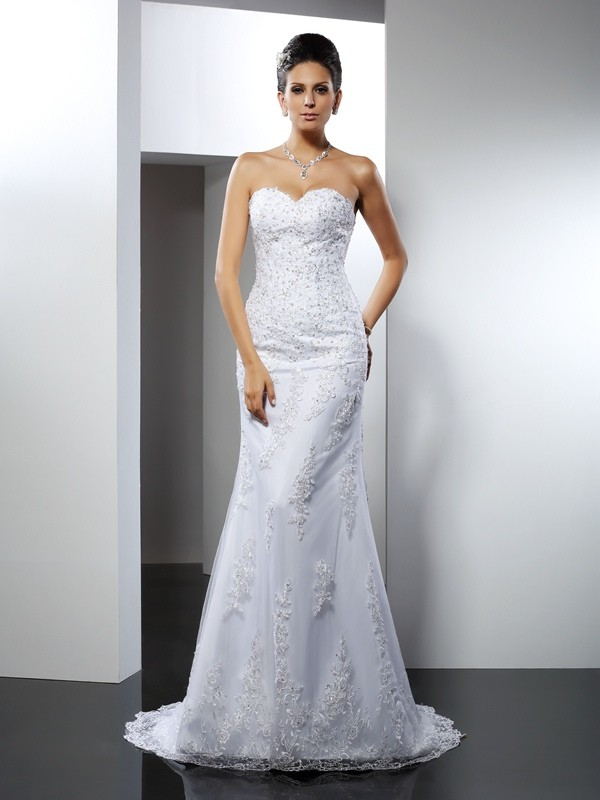 Trumpet/Mermaid Satin Sweetheart Sleeveless Court Train Lace Wedding Dresses