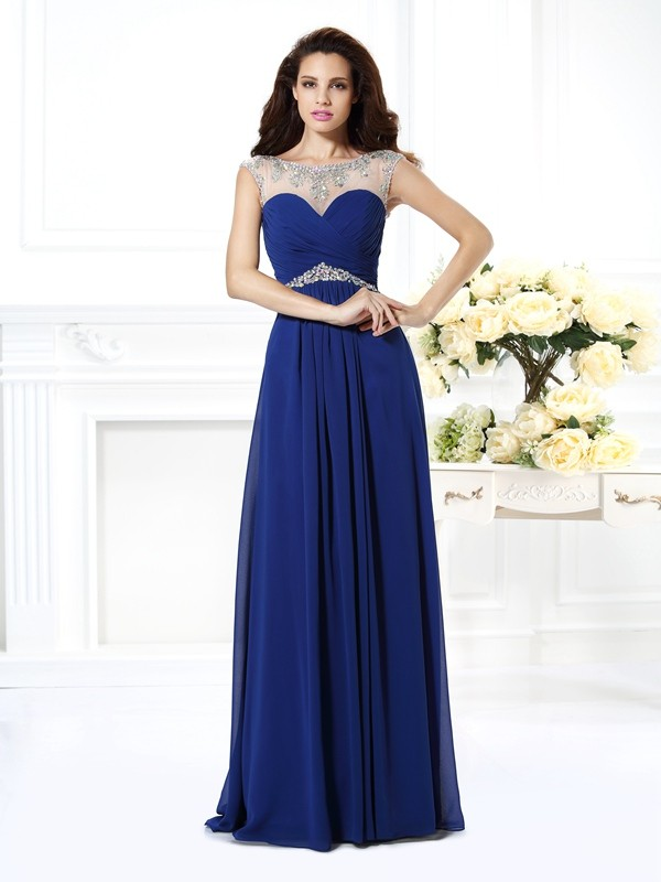 A-Line/Princess Bateau Chiffon Floor-Length Beading Sleeveless Dresses