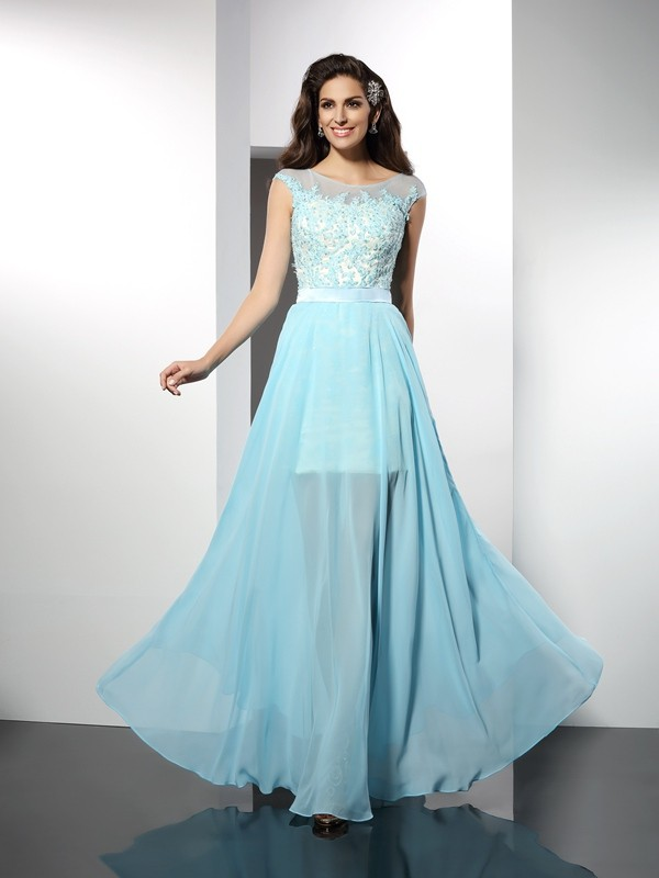 A-Line/Princess Bateau Chiffon Floor-Length Applique Sleeveless Dresses