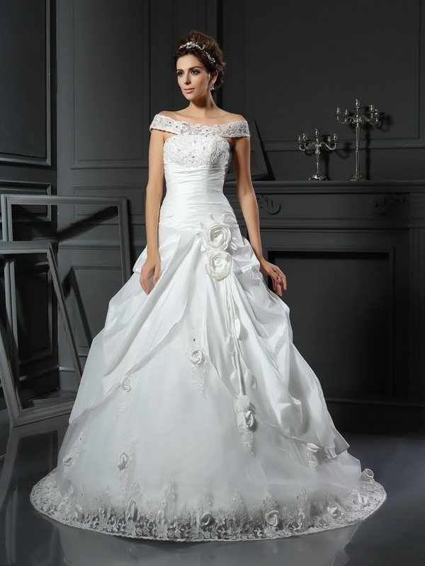 Ball Gown Satin Off-the-Shoulder Sleeveless Chapel Train Hand-Made Flower Wedding Dresses