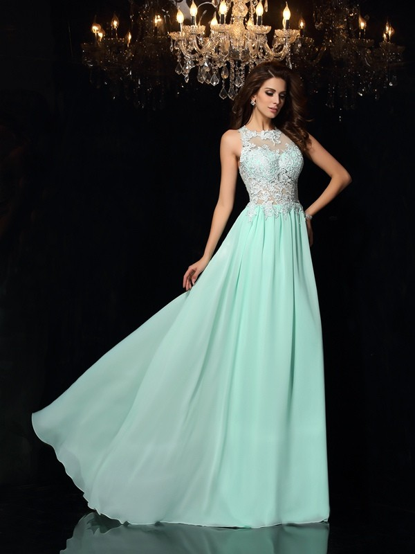 A-Line/Princess Chiffon Applique High Neck Sleeveless Sweep/Brush Train Dresses