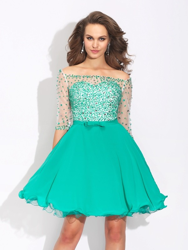 A-Line/Princess Off-the-Shoulder Chiffon Beading 1/2 Sleeves Short/Mini Dresses