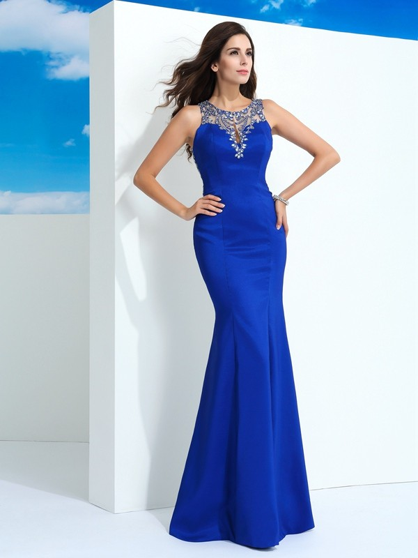 Sheath/Column Sheer Neck Beading Chiffon Floor-Length Sleeveless Dresses