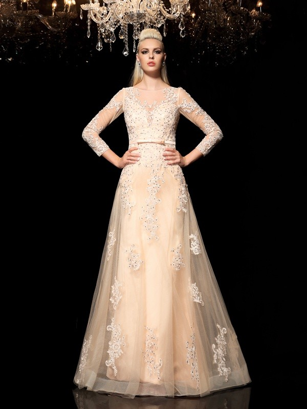 A-Line/Princess Satin Sheer Neck Long Sleeves Applique Floor-Length Wedding Dresses