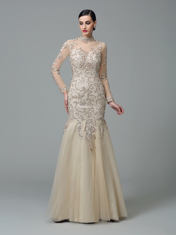 Sheath/Column Net Applique High Neck Long Sleeves Floor-Length Dresses