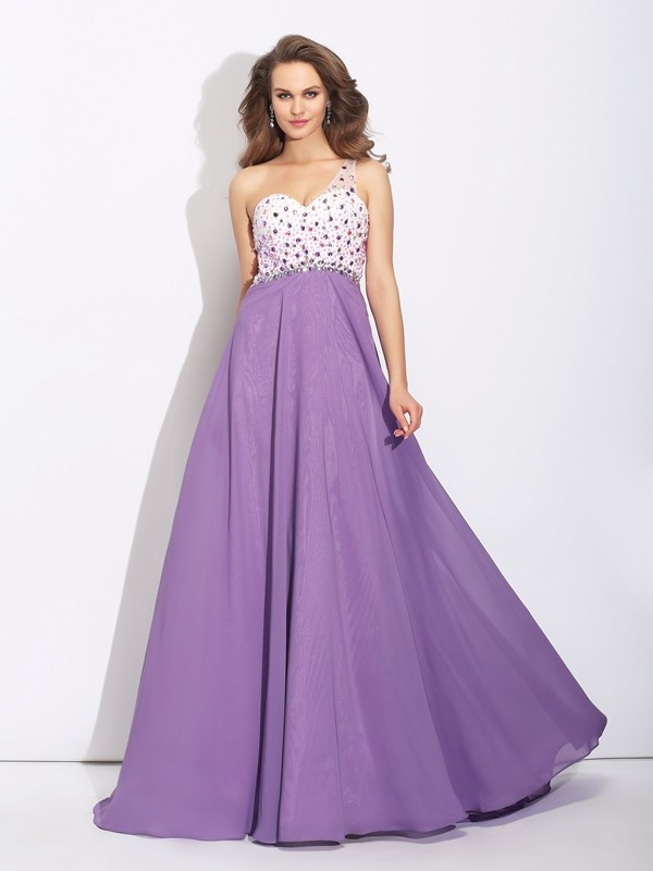 A-Line/Princess Chiffon Crystal One-Shoulder Sleeveless Sweep/Brush Train Dresses