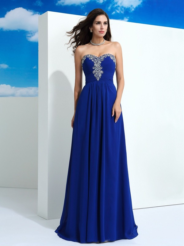 A-Line/Princess Sweetheart Chiffon Beading Sweep/Brush Train Sleeveless Dresses