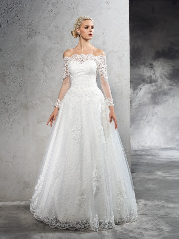 Ball Gown Net Off-the-Shoulder Long Sleeves Lace Floor-Length Wedding Dresses