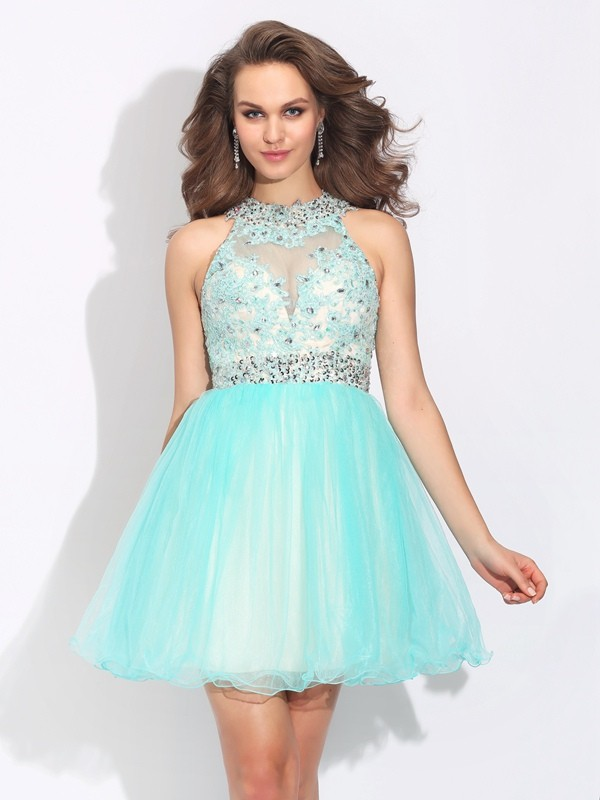 A-Line/Princess Net High Neck Sleeveless Lace Short/Mini Dresses