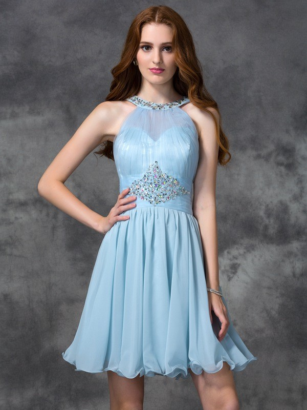 A-Line/Princess Chiffon Scoop Sleeveless Beading Short/Mini Dresses