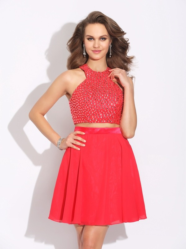 A-Line/Princess Chiffon Crystal Short/Mini Sleeveless Dresses