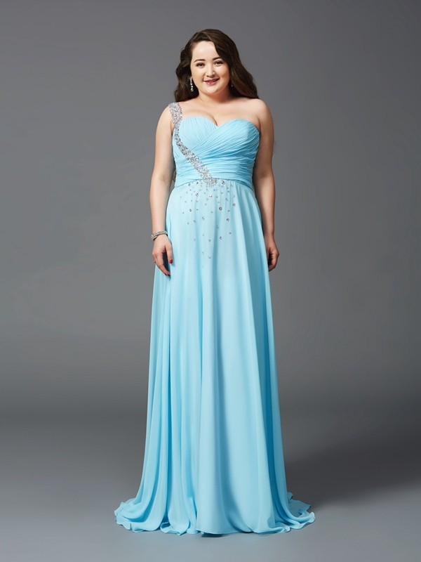 A-Line/Princess Rhinestone Sleeveless Chiffon Sweep/Brush Train Dresses