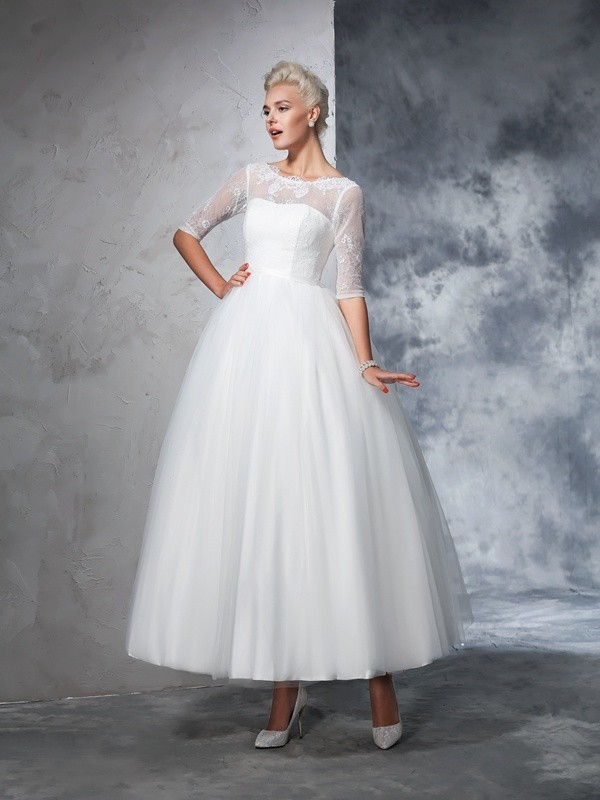 Ball Gown Net Ankle-Length Lace 1/2 Sleeves Wedding Dresses