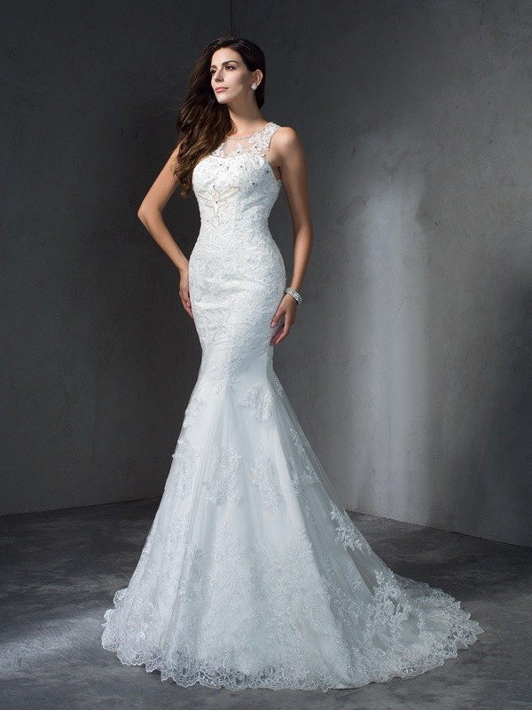 Trumpet/Mermaid Lace Sleeveless Applique Court Train Wedding Dresses