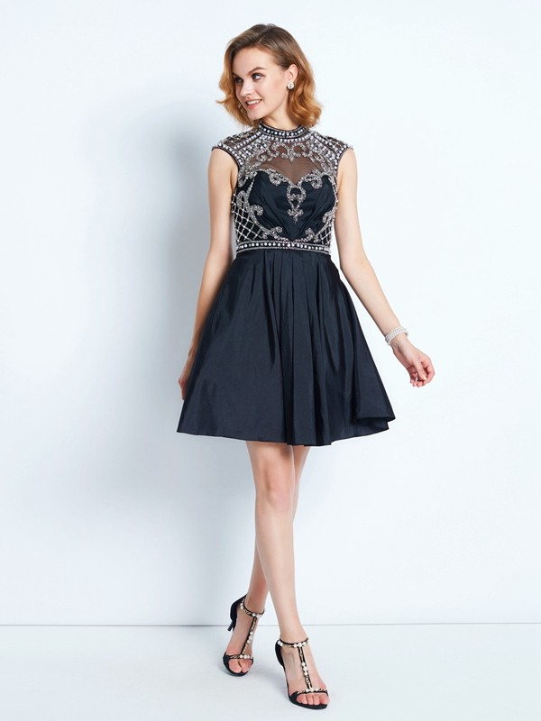 A-Line/Princess Satin Beading Sleeveless Short/Mini Dresses