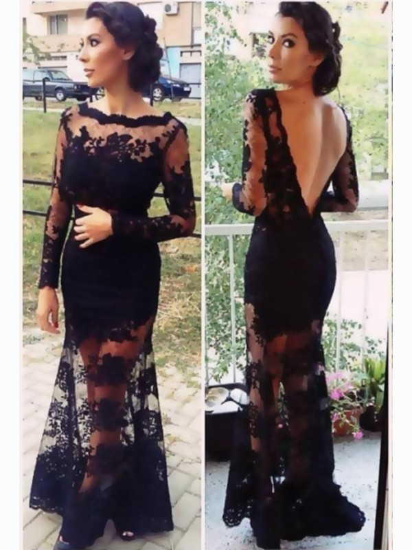 A-Line/Princess Lace Sweep/Brush Train Lace Long Sleeves Dresses