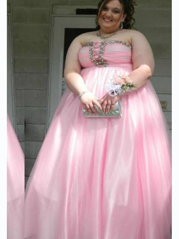 A-Line/Princess Satin Strapless Sleeveless Beading Floor-Length Plus Size  Dresses