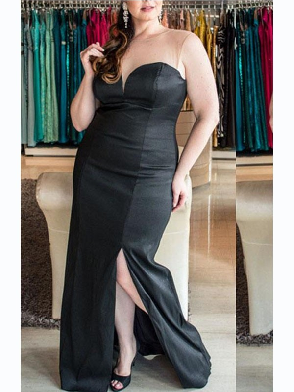 Sheath/Column Sweetheart Sleeveless Ruched Elastic Woven Satin Floor-Length Plus Size Dresses