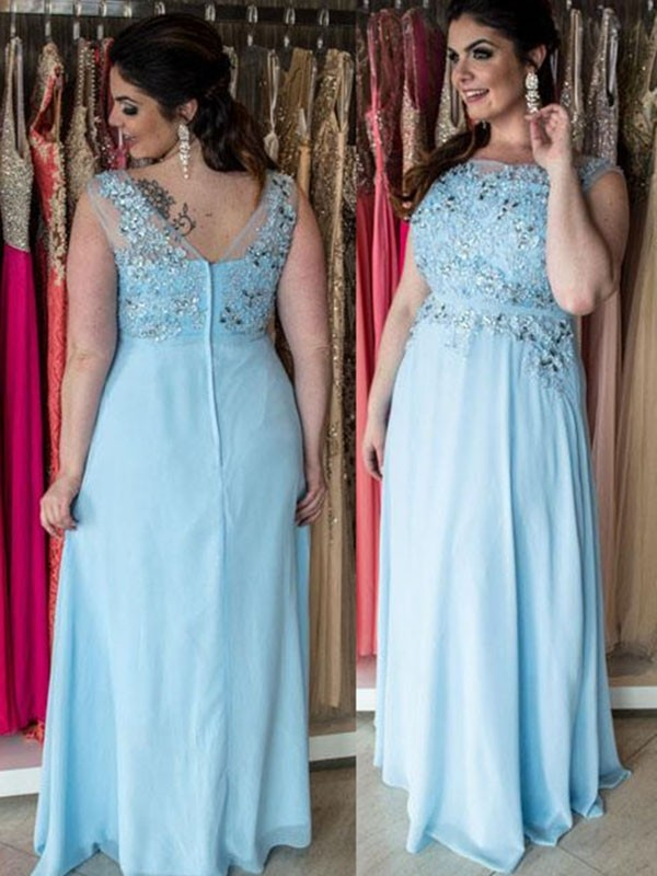 A-Line/Princess Chiffon Scoop Sleeveless Beading Floor-Length Plus Size Dresses