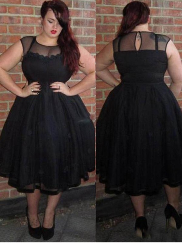 A-Line/Princess Applique Ankle-Length Tulle Scoop Sleeveless Plus Size Dresses