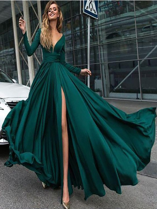 A-Line/Princess Satin Chiffon V-Neck Long Sleeves Floor-Length Ruffles Dresses