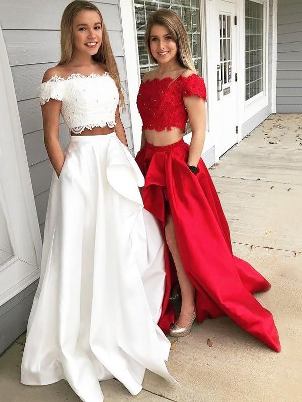 A-Line/Princess Off-the-Shoulder Sleeveless Sweep/Brush Train Lace Satin Two Piece Dresses