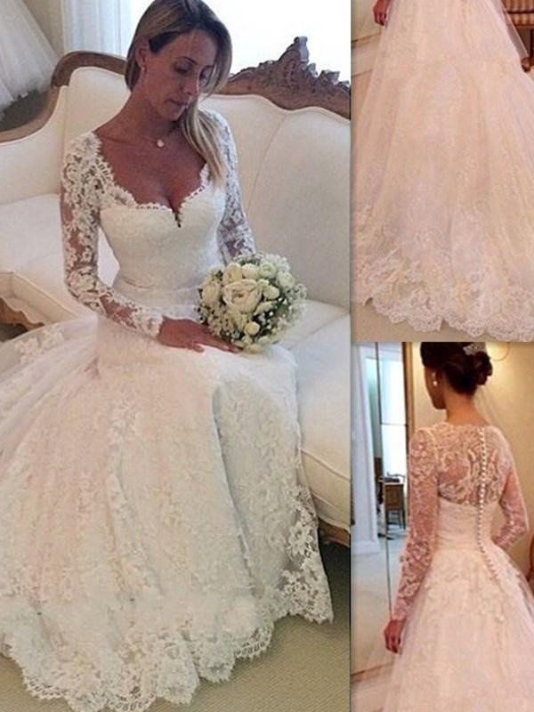 Ball Gown Tulle Sleeveless Court Train Lace Wedding Dresses