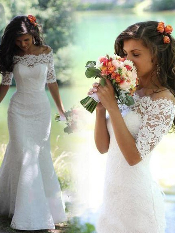 Trumpet/Mermaid Lace Sweep/Brush Train 1/2 Sleeves Wedding Dresses