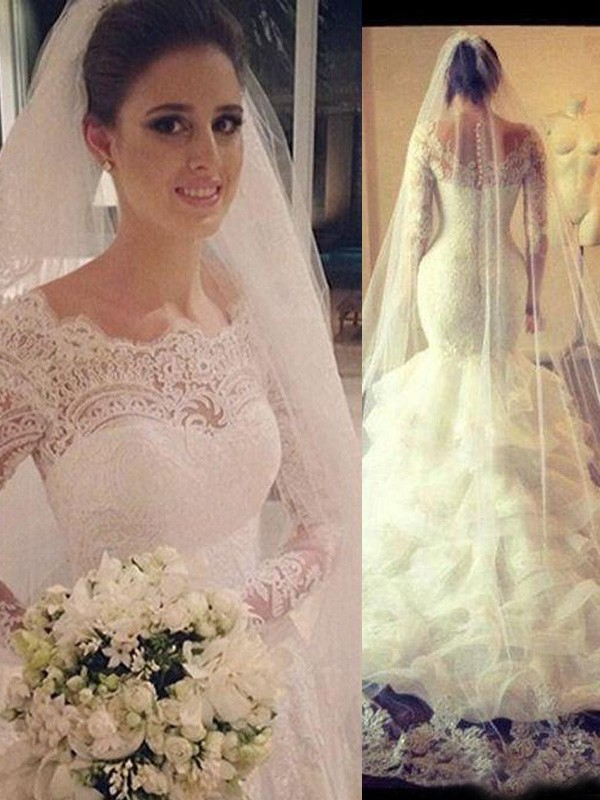 Trumpet/Mermaid Tulle Long Sleeves Lace Court Train Wedding Dresses
