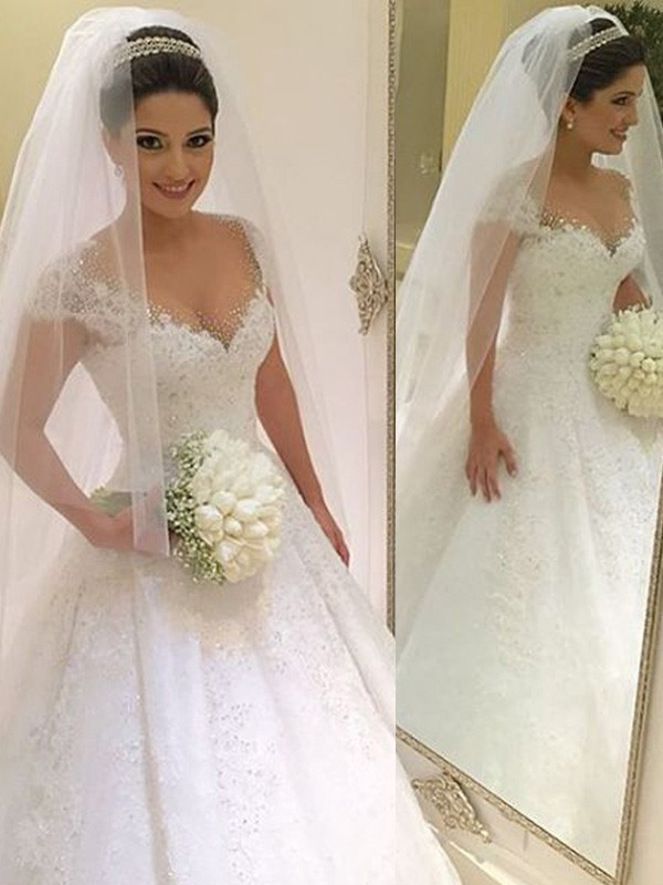 Ball Gown Tulle Beading Sleeveless Floor-Length Wedding Dresses