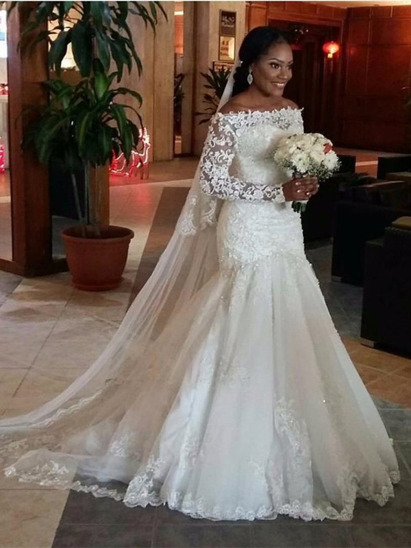Trumpet/Mermaid Tulle Lace Long Sleeves Sweep/Brush Train Wedding Dresses