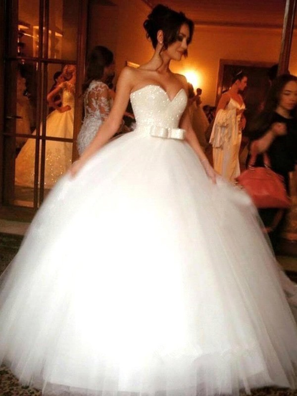 Ball Gown Tulle Bowknot Floor-Length Sleeveless Wedding Dresses