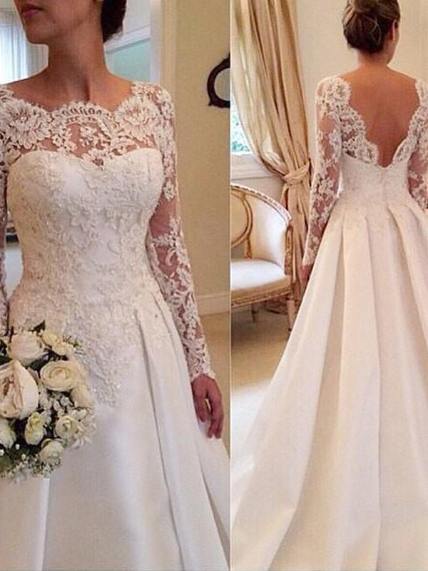 Ball Gown Satin Long Sleeves Court Train Lace Wedding Dresses