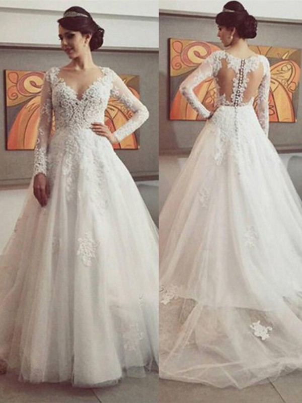 Ball Gown Tulle Lace Long Sleeves Wedding Dresses