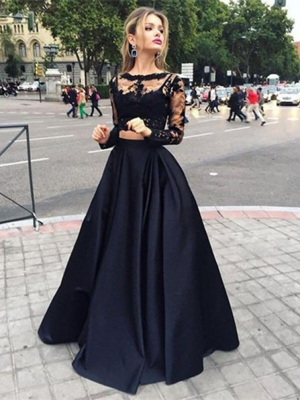 Ball Gown Satin Long Sleeves Beading Floor-Length Dresses