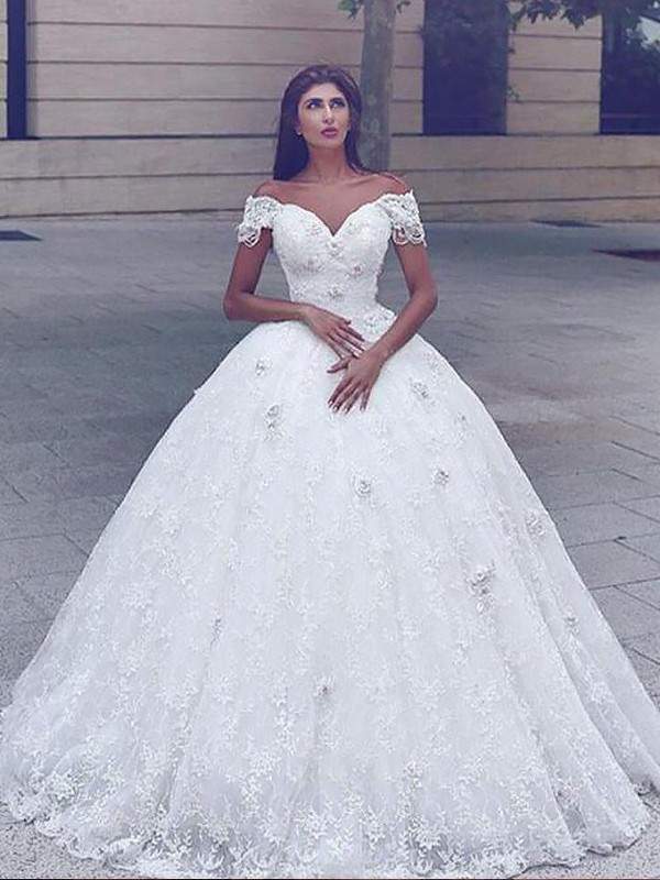 Ball Gown Lace Floor Length Straps Short Sleeves Wedding Dresses