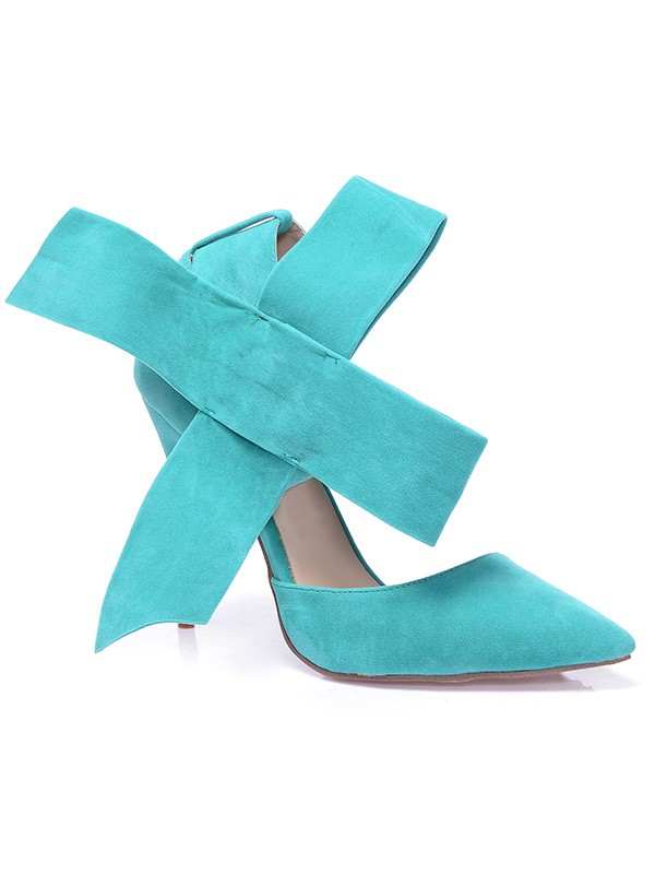 Women's Stiletto Heel Suede Closed Toe With Knot High Heels