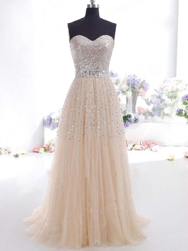 A-Line/Princess Tulle Sleeveless Sweep/Brush Train Dresses