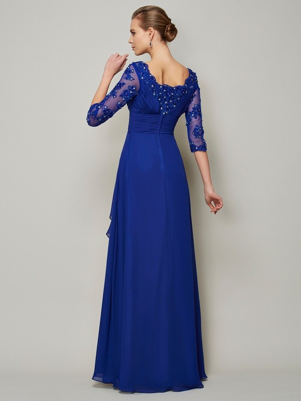 2ed515944a79 A-Line/Princess Chiffon Scoop 3/4 Sleeves Lace Floor-Length Mother of the Bride  Dresses - DoraProm Online