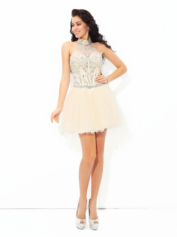 4fe8872dc6 A-Line Princess Halter Satin Sleeveless Beading Short Mini Dresses -  DoraProm Online