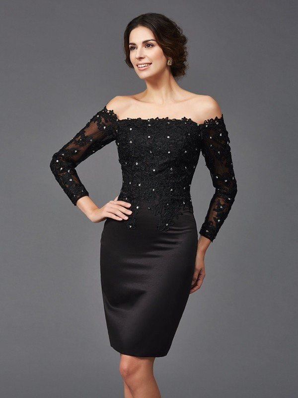 0e2d5fb0cfb3 Sheath/Column Off-the-Shoulder Satin Long Sleeves Lace Knee-Length Mother