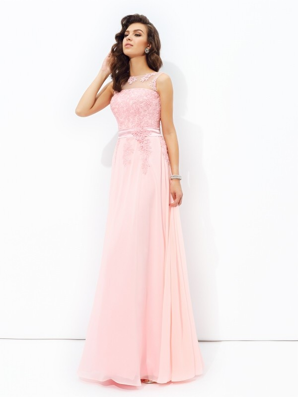 edb4f7aff8 A-Line/Princess Chiffon Scoop Sleeveless Applique Floor-Length Dresses -  DoraProm Online