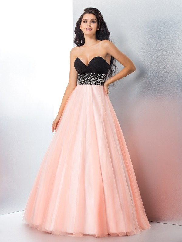 Ball Gown Satin Sweetheart Sleeveless Floor-Length Beading Dresses ...