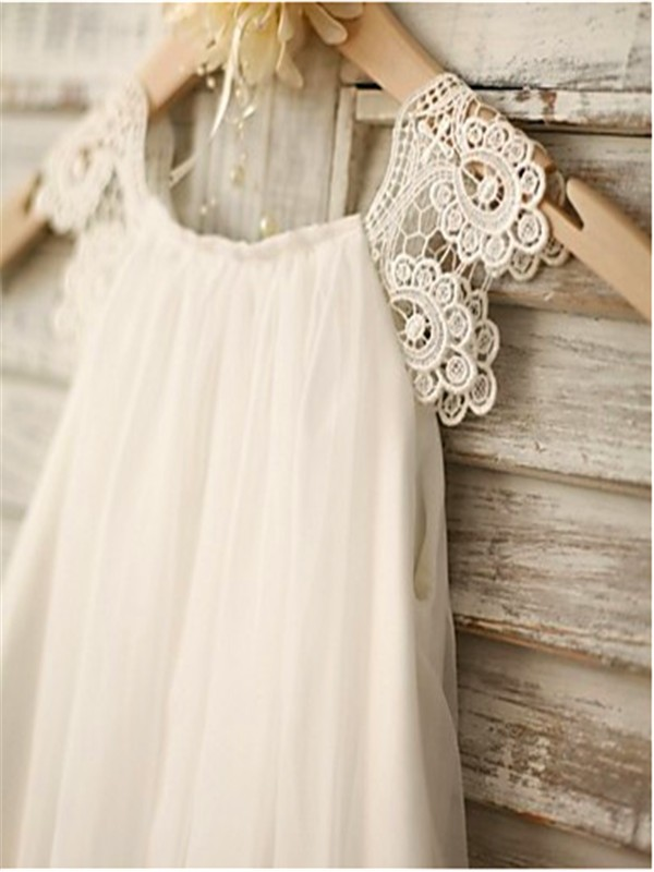 06ce739f1e ... A-line Princess Scoop Sleeveless Lace Floor-Length Chiffon Flower Girl  Dresses ...