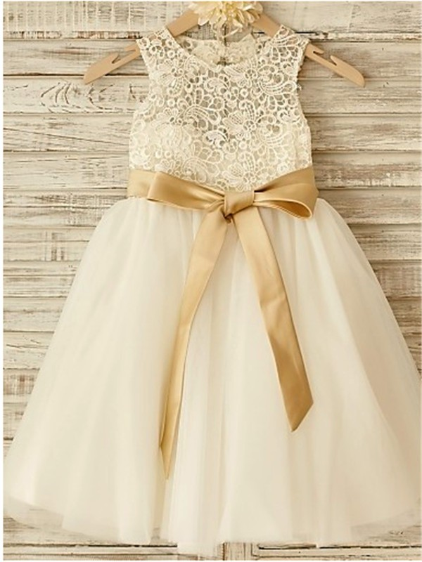 2d26e5fe8e8 A-line Princess Scoop Sleeveless Bowknot Floor-Length Tulle Flower Girl  Dresses