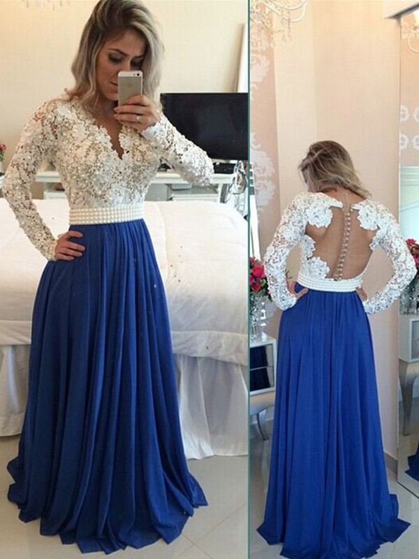 885d8914012 A-Line Princess Long Sleeves Chiffon Floor Length Dresses - DoraProm ...
