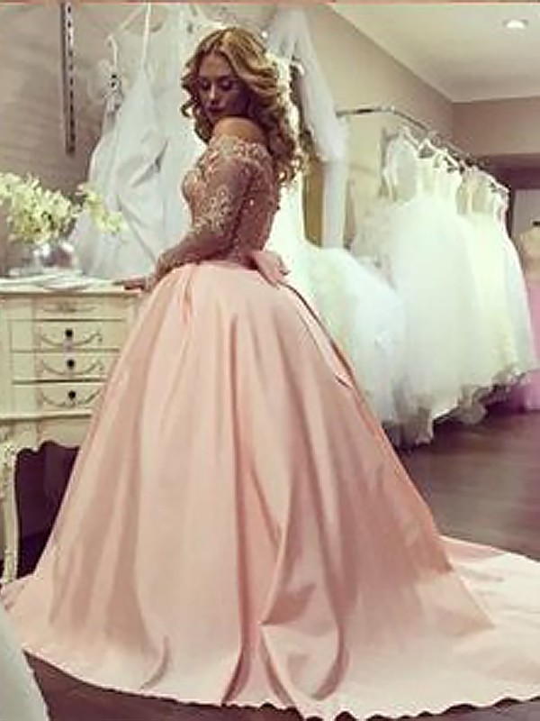 4d4e2bc3728 Ball Gown Beading Satin Long Sleeves Off-the-Shoulder Floor-Length Dresses