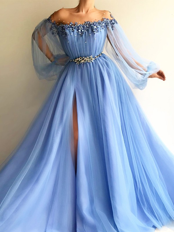 7429e2f6332 A-Line/Princess Long Sleeves Off-the-Shoulder Tulle Beading Floor-Length  Dresses
