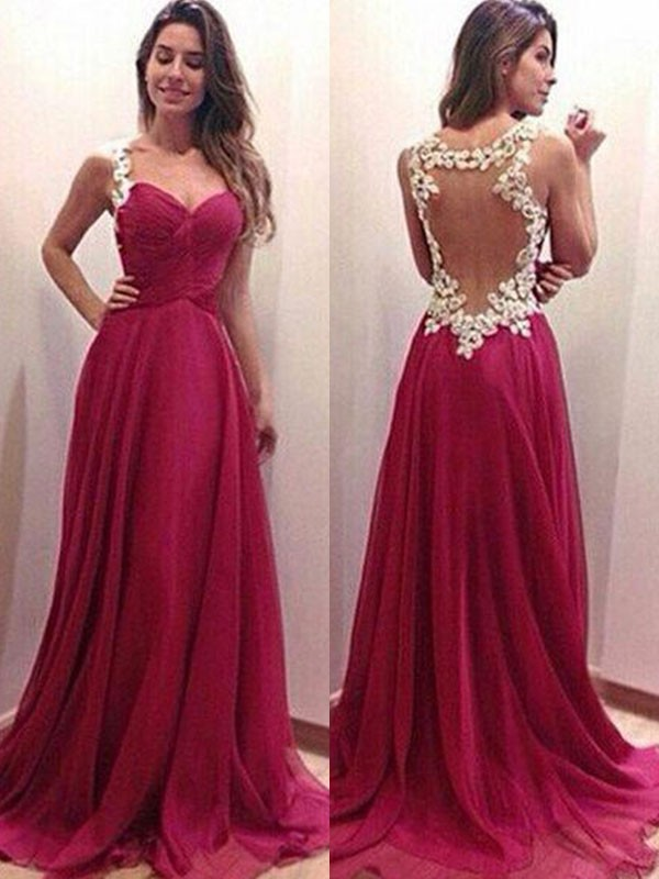 bfe497eeabe0a A-Line/Princess Sweetheart Sleeveless Sweep/Brush Train Applique Chiffon  Dresses - DoraProm Online
