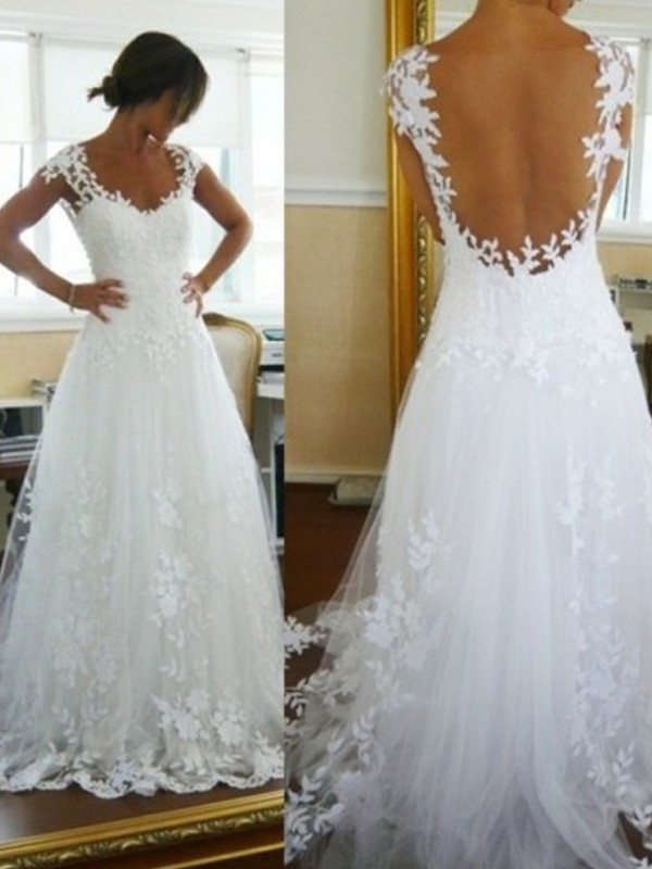 A-Line/Princess Tulle Sleeveless Lace Sweep/Brush Train Wedding ...